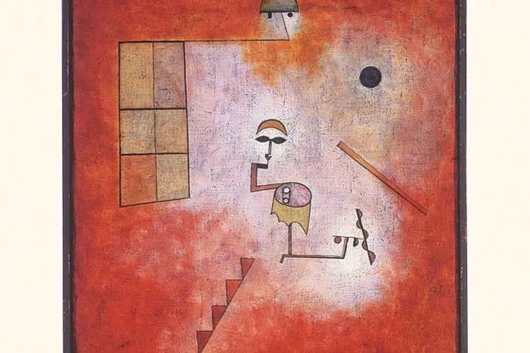 Prestidigitator (Conjuring Trick) [Detail] // Artist/Maker: Paul Klee , Swiss, 1879 - 1940 // 1927 // Oil and watercolor on fabric on cardboard // 19 9/16 x 16 7/16 inches (49.7 x 41.8 cm) Framed: 23 5/8 × 22 5/16 × 3 1/8 inches (60 × 56.7 × 7.9 cm) // The Louise and Walter Arensberg Collection, 1950, Philadelphia Museum of Art // Object Number: 1950-134-118