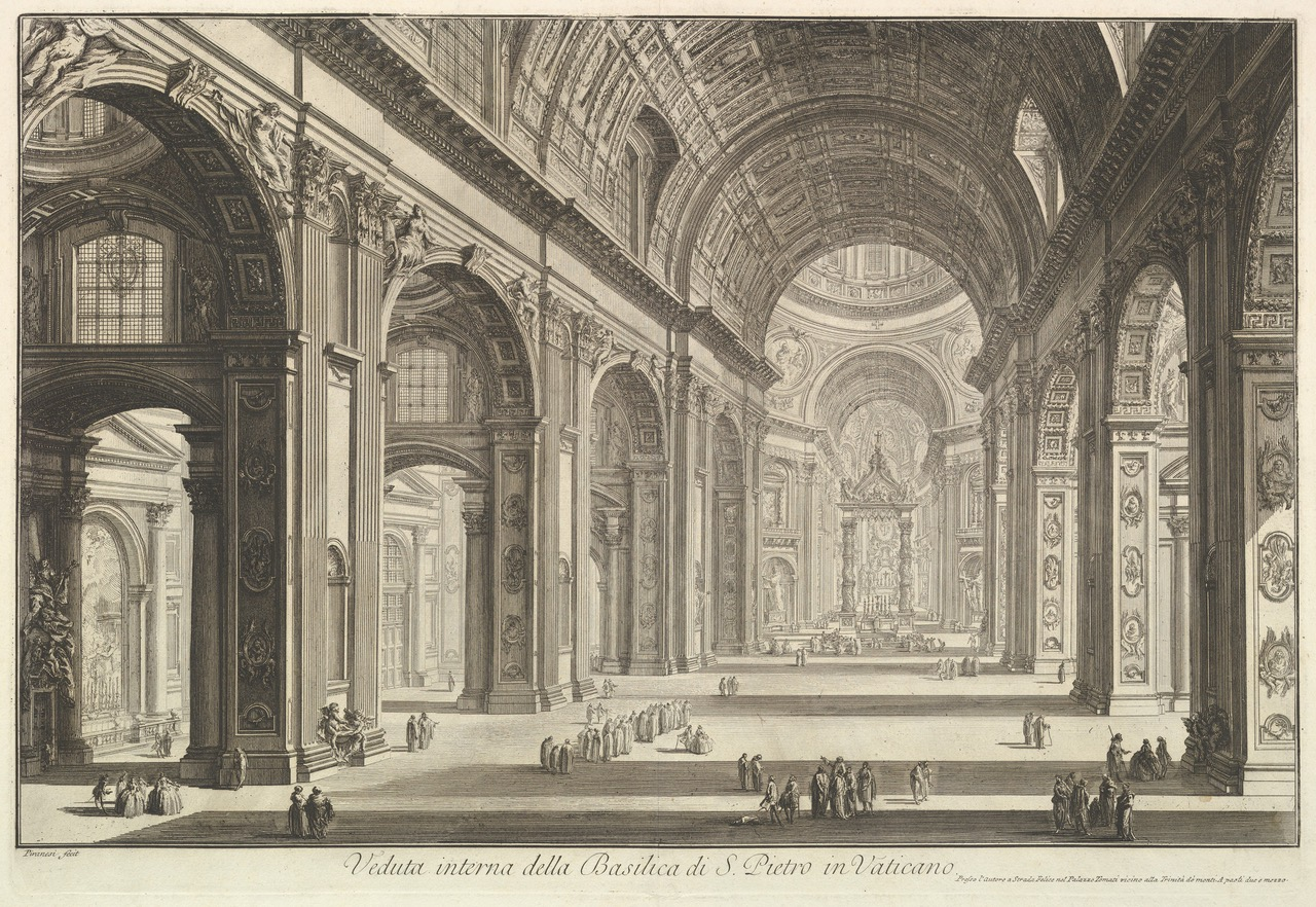Interior view of St. Peter's Basilica in the Vatican, from Vedute di Roma (Roman Views) ca. 1748. Giovanni Battista Piranesi (© MET, OA, Public Domain)
